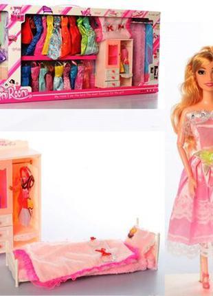 Кукла с нарядом 288 12C шарнирная, 28 см, шкаф, кровать