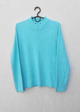 Осенний зимний бирюзовый вязаный свитер с длинным рукавом