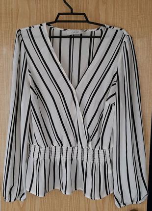 Oasis белая блузка в черную полоску