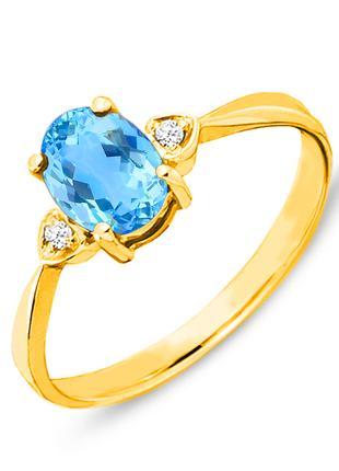 Золотое кольцо с топазом и бриллиантами 0,03 карат 17 мм. Желтое