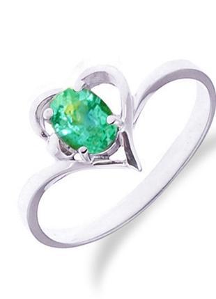 Золотое кольцо с изумрудом 0,30 карат. Белое золото 16,5 мм НОВОЕ