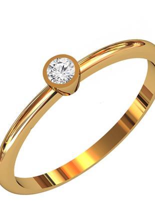 Золотое кольцо с бриллиантом 0,08 карат 17,5 мм. Желтое золото