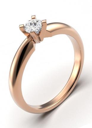 Золотое кольцо с бриллиантом 0,18 карат 17 мм. Желтое золото