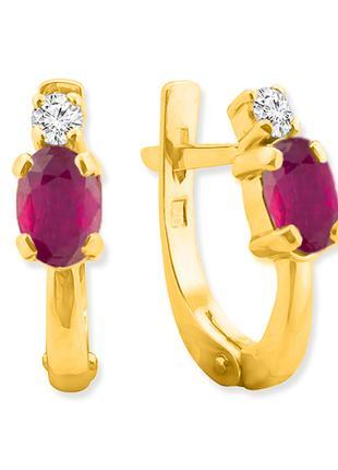 Английские золотые серьги с рубинами и бриллиантами 0,14 карат