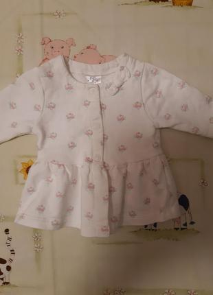 Удлиненная кофточко, платице f&f для девочки 0-3 месяцев.