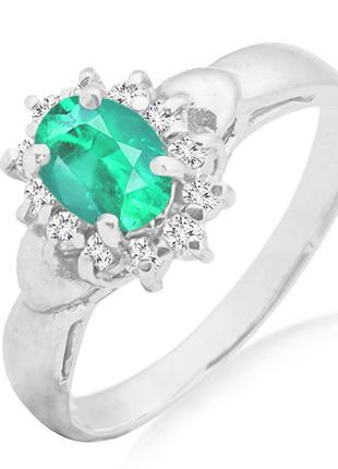 Золотое кольцо с изумрудом и бриллиантами 0,14 карат 16,5 мм