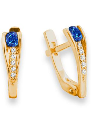 Золотые серьги с сапфиром и бриллиантами 0,08 карат Желтое золото