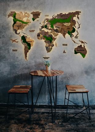 Деревянная Карта Мира Со Мхом, Многоуровневая Карта, 8 Марта