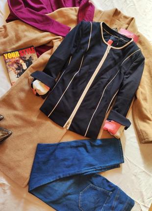 Пиджак жакет синий бежевый классический рукава подкатываются b...