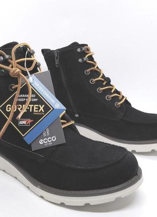 Стильные утеплённые кожаные удобные ботинки ecco на мембране g...