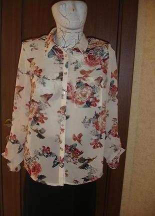 Фирменная george стильная шифоновая блузка 46 размер