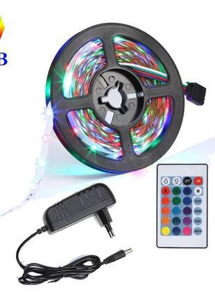 Светодиодная лента RGB 5м подсветка LED  влагозащита полный ко...