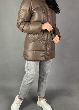 Распродажа!скидки!пуховик с поясом объемный куртка пуховая