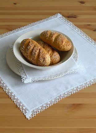 Льняные салфетки молочного цвета с кружевом, салфетки из льна