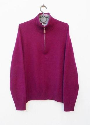 Кашемировый зимний осенний свитер на молнии 3/4 с длинным рукавом