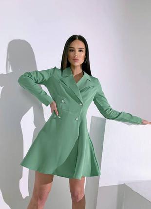 Платье пиджак оливка