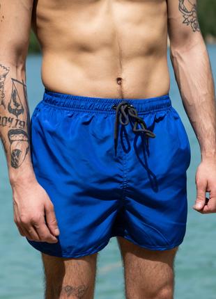 Синие пляжные шорты мужские плавки однотонные для плаванья