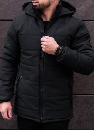 Мужская зимняя куртка в черном цвете ( пуховик)