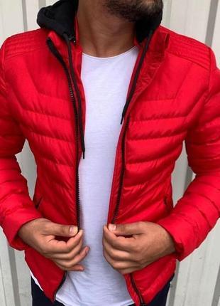 Мужская красная куртка пуховик еврозима