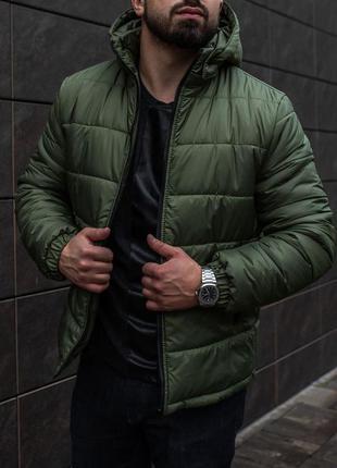 Зимняя куртка пуховик мужская цвета хаки