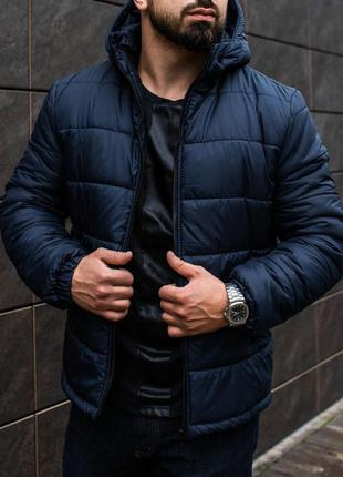 Мужская зимняя куртка пуховик синяя