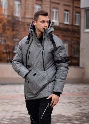 Мужская зимняя куртка серого цвета с карманами