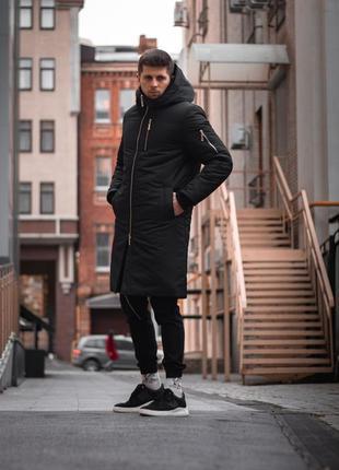 Мужская черная парка куртка пуховик