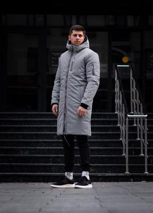 Мужская зимняя парка куртка пуховик серая