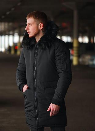 Мужская парка куртка пуховик черный зима