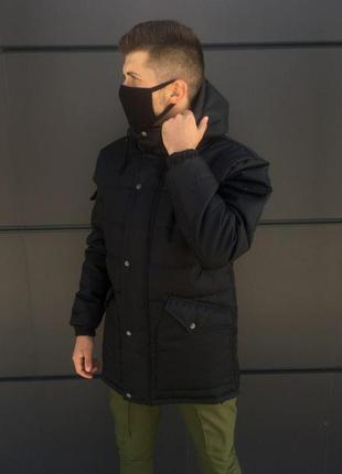 Топовая мужская куртка пуховик парка черный цвет