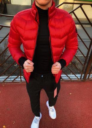 Топовая мужская куртка пуховик красный