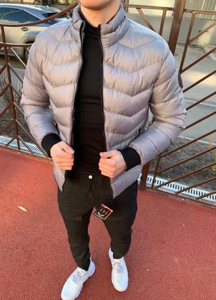 Топовый мужской теплый пуховик куртка серый
