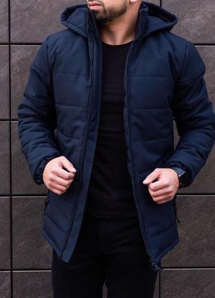 Топовая мужская куртка парка в синем цвете
