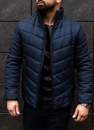 Топовая мужская куртка пуховик синего цвета
