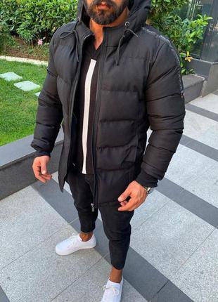 Топовая мужская куртка пуховик черный