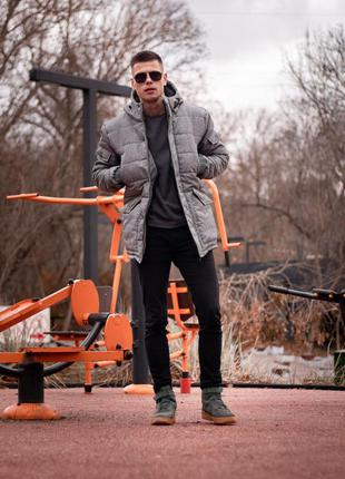 Мужская зимняя парка куртка пуховик серого цвета