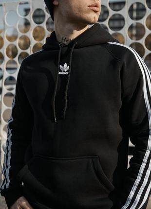 Стильный мужской теплый худи кофта толстовка чёрная adidas