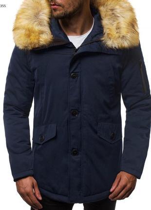 Стильная мужская парка куртка с капюшоном теплая