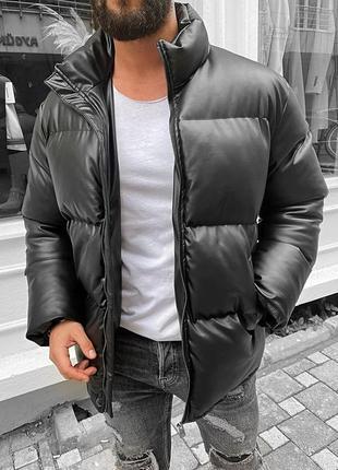 Стильная мужская зимняя куртка пуховик черный