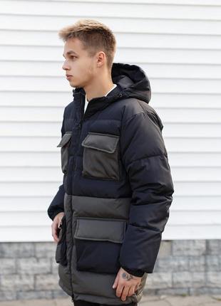Топовый мужской теплый пуховик куртка парка с капюшоном
