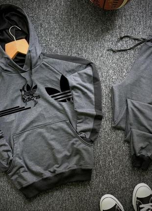 Стильный мужской спортивный костюм adidas с капюшоном серый с ...