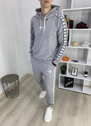Топовый мужской спортивный костюм adidas original серый с капю...