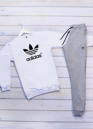 Стильный мужской спортивный костюм adidas original серый на ма...
