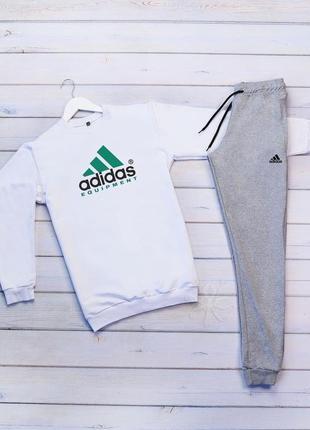 Стильный мужской спортивный костюм adidas серый на манжете