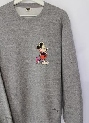 Uniqlo мужской серый свитшот из коллекции disney mickey mouse ...