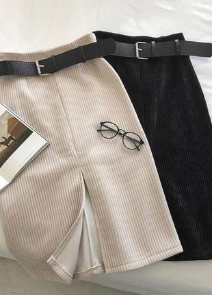 Хит продаж юбка вельвет с поясом