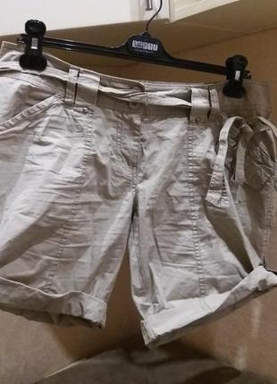 Серые шорты полированый котон под поясок