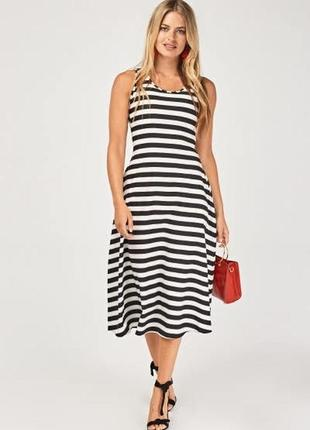 Распродажа! полосатое платье с прозрачной спинкой