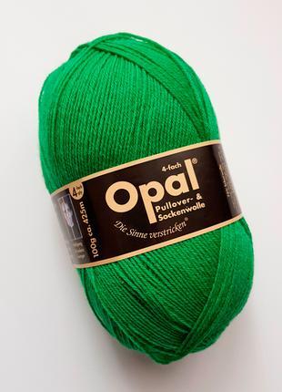 Носочная пряжа Opal 4-х ниточная однотонная, зеленый