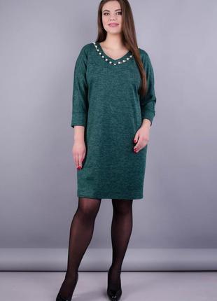 Размеры 52-62! платье ангора бьюти изумруд, большой размер!